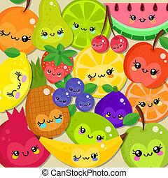 fruit, heureux, dessin animé, bande, mignon, kawaii