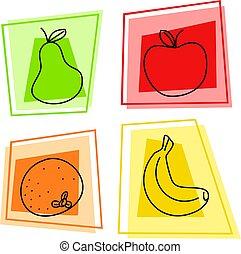 fruit, icônes