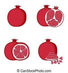 fruit, illustration, grenade, entier, couper, vecteur, moitié