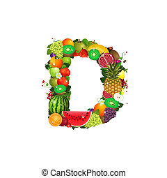 fruit, juteux, lettre, d