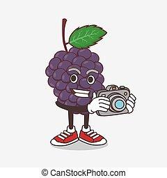 fruit, mûre, action, appareil photo, dessin animé, photographe, mascotte, caractère