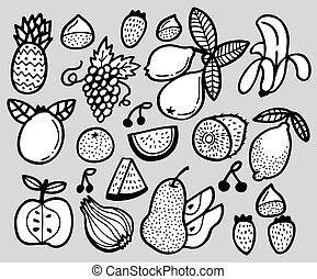 fruit, main, dessiner