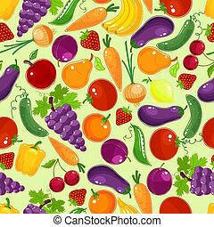 fruit, modèle, légumes, coloré, seamless