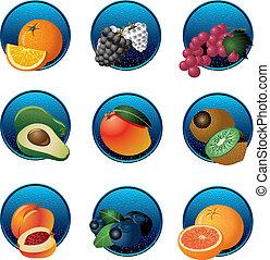 fruits, baies, ensemble, icône