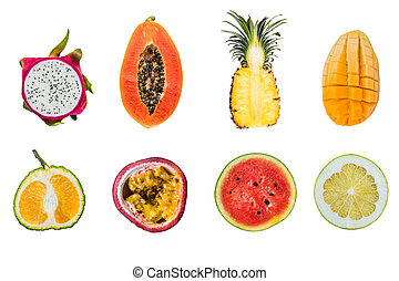 fruits, blanc, coupure, différent, lot, isolé, moitiés, exotique