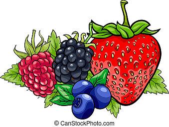 fruits, dessin animé, illustration, baie
