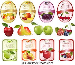 fruits, ensemble, étiquettes