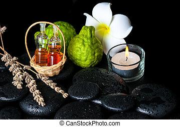 fruits, essentiel, aromatique, bouteilles, spa, huile, bergamote, concept