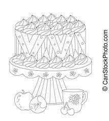 fruits, gâteau, coloration, délicieux, tasse, ton, thé, livre