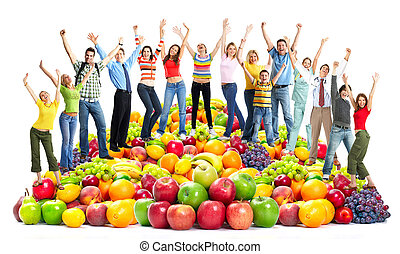 fruits., gens, heureux, groupe