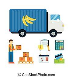 fruits, illustration., importation, exportation
