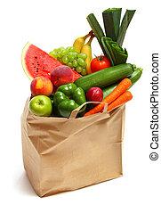 fruits, légumes, sac, entiers, sain