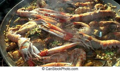 fruits mer frais, moule, grand plan, cuisine, paella, vidéo
