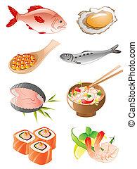 fruits mer, icônes, ensemble