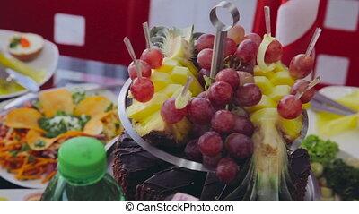 fruits, partie., cocktail, restauration