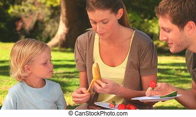 fruits, séduisant, famille manger