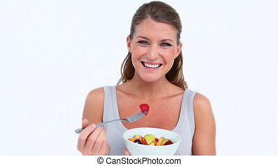 fruits, salade, femme souriante, manger
