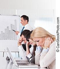 frustré, employés, réunion, business