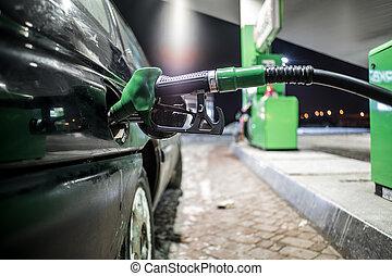 fueling, haut, becs, station-service, nuit, fin