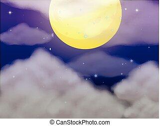 fullmoon, scène, fond, nuit