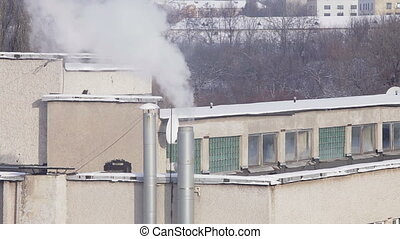fumée, cheminée, pollution