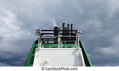 fumée, noir, entonnoir, bateaux, air, émettre