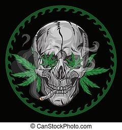 fumées, vecteur, arrière-plan., noir, crâne, graphics., marijuana