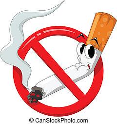 fumer, dessin animé, non