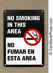 fumer, non, bilingue, signe