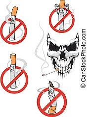 fumer, non, crâne, signe