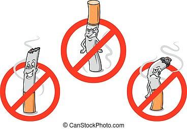 fumer, non, dessin animé, signes