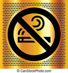 fumer, symbole, bronze, toile de fond, non