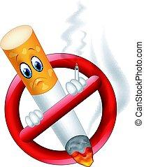 fumer, symbole, dessin animé, non