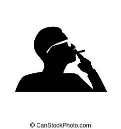fumer, vecteur, homme, cigarette