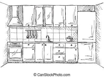 furniture., illustration, main, vecteur, dessiné, cuisine