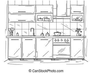 furniture., style, illustration, vecteur, croquis, cuisine