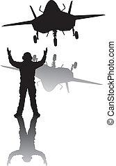 furtivement, silhouette, avion