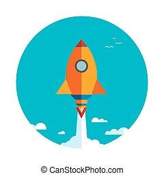 fusée, business, haut, projet, début, nouveau