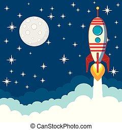 fusée, fond, voler, étoiles, lune, espace