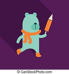 fusée, skying, teddy, gift., ours, année, lollipop., nouveau, noël