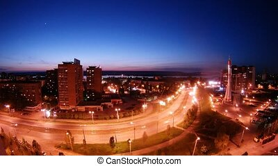 fusée, voitures, monument, samara, rue, nuit, aller
