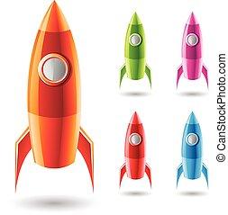 fusées, coloré, icônes