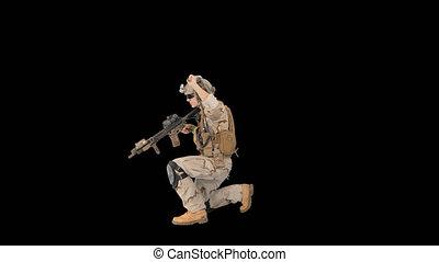 fusil, alpha, soldat, radio, viser, utilisation, canal, marche