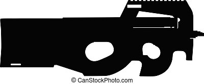 fusil, assaut, vecteur, isolé