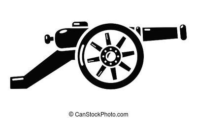 fusil, automatique, animation, icône