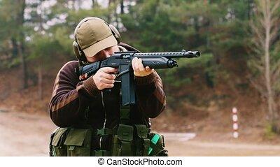 fusil chasse, tir, homme