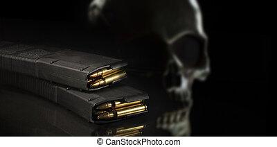 fusil, devant, élevé, assaut, effrayant, derrière, capacité, magazines, crâne, chargé, paire