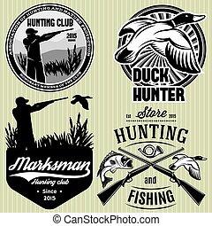 fusil, ensemble, emblème, chasse, chasseur, canard, motifs, trempette