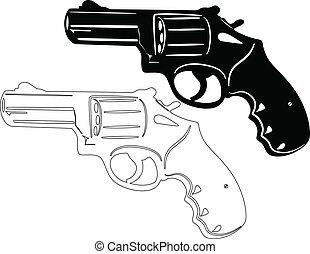 fusil, revolver