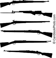 fusils chasse, six, vieux